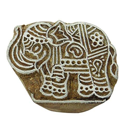 Elefant Holzblock Hand geschnitzt braun Klischee Textilmarke
