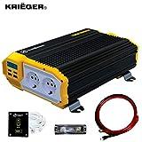 Krieger 1100 Watt Inverter di Potenza da Auto 12V a 230V, CC a CA Convertitore da Onda Sinusoidale Modificata, 2 Prese di Corrente Europee da 230 Volt e Kit di Installazione Incluso - Approvato SGS CE