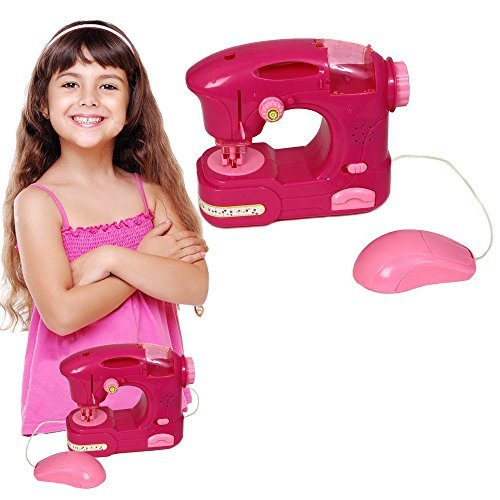 Toy Cubby Kids Pretend Play Battery Operated Toy Sewing Machine with Lights and Sounds