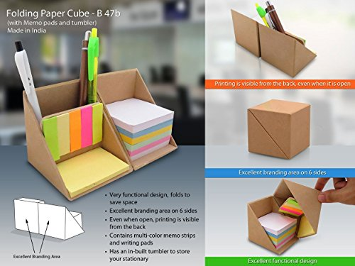 BJE Christmas Gift / Christmas Sale Crafts'man Folding Wooden cube Sticky Note cum Pen Holder for Office Table  available at amazon for Rs.399