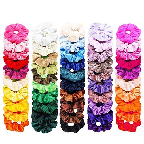 FAMINESS 50 Stück Samt Haargummis | 50 Farben Elastische GummibänderHaarbänder Scrunchies | Pferdeschwanz Haarband Haaschmuck für Mädchen Frauen - Rose Haargummi
