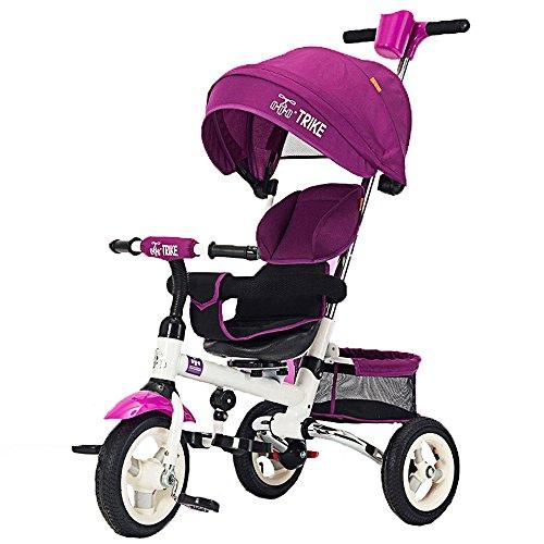 Hellobridal Trike Tricycle swift 3 roues 1-5 ans enfant bébé poussette evolutif smart (rouge/violet/bleu) (violet)