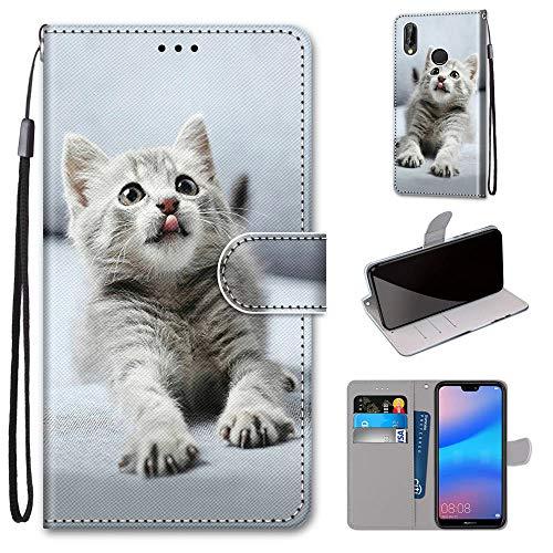 Miagon Flip PU Leder Schutzhülle für Huawei Y6 2019,Bunt Muster Hülle Brieftasche Case Cover Ständer mit Kartenfächer Trageschlaufe,Grau Katze