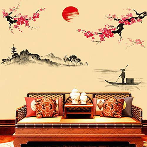 Chinesische Pfirsich (Ouneed® Wandaufkleber Wandtattoo Wandsticker , Kreative klassische chinesische Art-Tinten-Anstrich-dekorative Wand-Aufkleber Pfirsich)