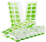 (4 pack) TOPELEK Ice Cube Tray, LFGB Certified BPA Free Silicone Ice Cube Tray Moulds with Non-Spill Lid, Best for Water, Cocktail and Other Drink