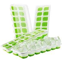 Toplek GECP070AG, Vassoio per cubetti di ghiaccio fresco con coperchio, Verde, 24.3 x 9.3 x 11.5 cm, 4 pezzi