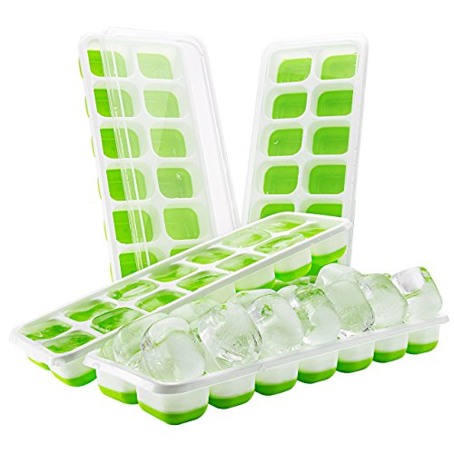 (4 pack) TopElek Ice Cube Tray, LFGB Certified Ice Cube Tray Molds with Non-Spill Lid, Best for Water, Cocktail and Other Drink