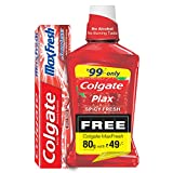 #1: Colgate Plax Alcohol Free Mouthwash - 250 ml (Spicy Fresh) with Free Max Fresh Toothpaste - 80 g