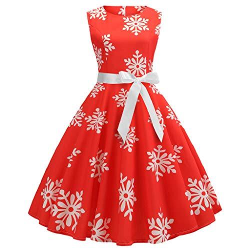 Soupliebe Weihnachtsfrauen Sleeveless Schnee Druck Verband Weinlese Kleid Partei Kleid Abendkleider Cocktailkleid Partykleider Blusenkleid