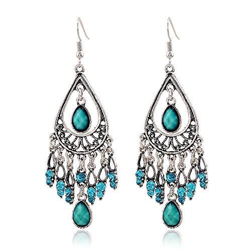 DOXMAL Ohrringe Damen,1 Paar Lady Quasten Ohrringe Shiny Ohrstecker Orientalische Große Ohrringe für Damen (boho ohrringe)
