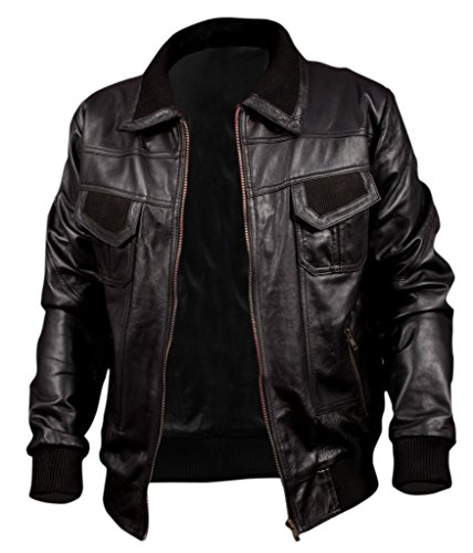 F&H Men's American Bomber Synthetic Leather Jacket Black