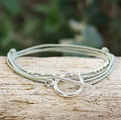bracelet cordon triple tours perles et connecteur T argent 925