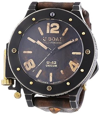 U-Boat U-42unicum hommes de montre automatique avec affichage analogique et bracelet en cuir marron Cadran Noir 8088