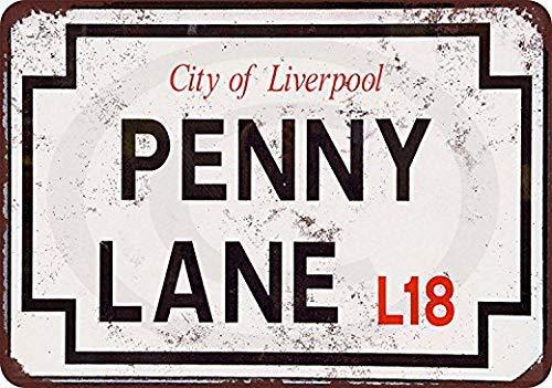 WSMsign Beatles Penny Lane Straßenschild, lustiges Metallschild, Vintage-Design, 20,3 x 30,5 cm (Lustige Straßenschilder)