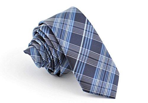 ADAMANT® Designer Krawatte, schmal, verschiedene Farben - TOPQUALITÄT - Moderne uni Krawatten für Business und Alltag - Blau Karo