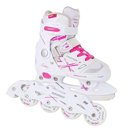 2in1 Schlittschuhe Inliner ABEC5 pink weiß Gr. 29-32, 33-36, 37-40 verstellbare Mädchen Skates (33-36)