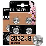 Duracell - 2032, Batteria Bottone al litio 3V, confezione da 8, con Tecnologia Baby Secure per l'uso su chiavi con sensore ma