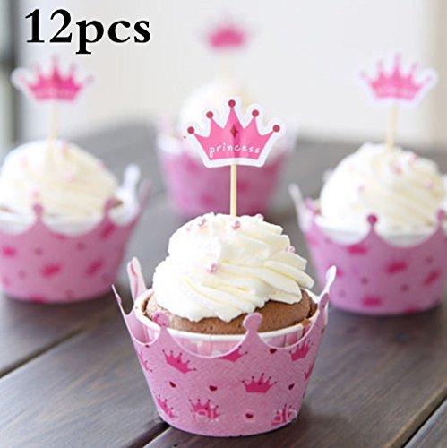 Cartoon Cupcake Wrappers und Toppers, TheBigThumb Set von 12 Kuchen Toppers Geburtstag Kinder Party Kuchen Dekorationen Supplies Pink Crown für Mädchen Kids