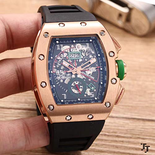 ZCCZJBXS Luxury Rubber Men Watch Sapphire Automatic Mechanical Rose Gold Silver Black Green Dual Time Skeleton Dial Watches Rose Gold