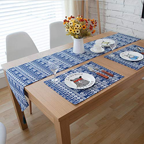 3/5/7-Stück Bettwäsche Baumwolle Böhmen Tabelle Runner und Tischset Sets Tisch Dekoration Tischläufer 30 x 220 cm Marine Blau, 5 Stück, Blau -