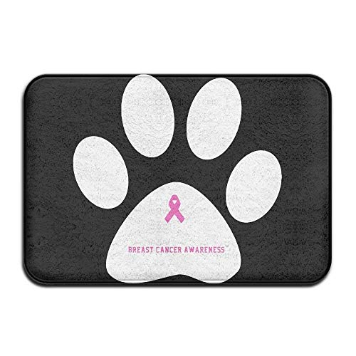 Breast Cancer Fleece (Wdskbg Breast Cancer Awareness Paw Non-Slip Outside/Inside Door Mat Rug for Health and Wellness Kitchen Hallway Bath Office Bathroom Doormat 23.6