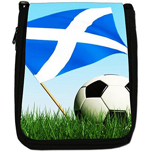 &, motivo: bandiera inglese con pallone da calcio, colore: nero, Borsa a tracolla in tela, colore: nero, taglia: M Nero (Scotland Flag with Football)
