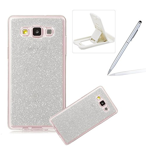 Coque Galaxy E7, Housse Etui pour Samsung E7, Herzzer Coque en Silicone Luxe Glitter Bling Crystal Rainbow Gradient Couleur Design Cover Ultra Mince Flex Soft Skin Extra Slim TPU Case Cover Protecteur Silver