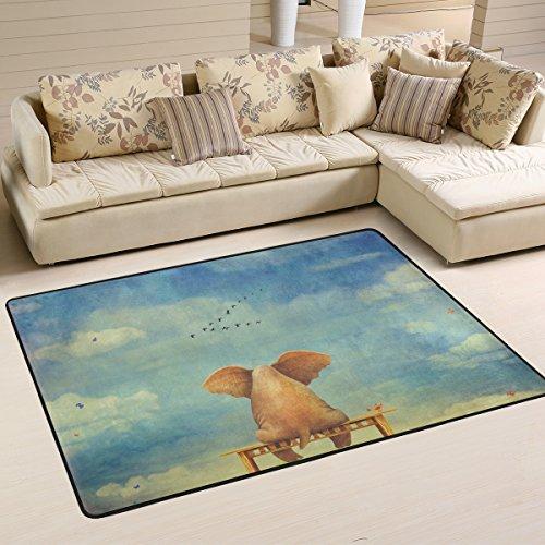 COOSUN Sad Elephant Sitting On Bench The Glade Area Rug Carpet Non-Slip Floor Mat Doormats for Living Room Bedroom 182.9 x 121.9 cm ( 72 x 48 inch ) -