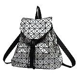 T-Tosney Femmes sac à dos lumineux géométrique à carreaux à carreaux femmes sacs à dos filles sac à dos holographique Silver