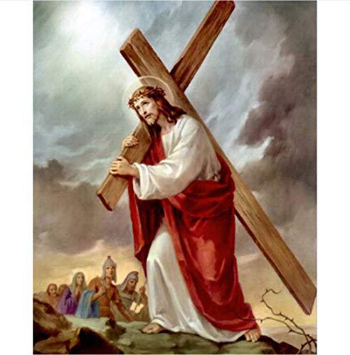 Diamant Malerei Jesus Heiliges Herz Kreuz Christlich Religiöse Bild Diy 3D Diamant Stickerei Färbung Hand 40 * 50CM (Christliche Spiele Für Weihnachten Erwachsene)