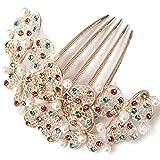 fi9® Gold Perlen Brautkleid Hochzeit Strass mit Haarkamm