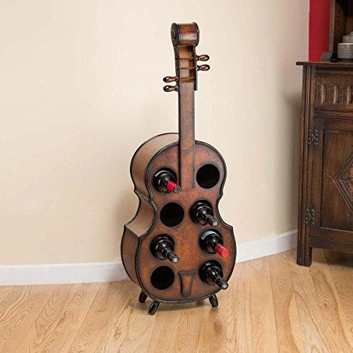 Wood Wine Rack Wooden Violin Bottle Holder Holds 8 Bottles Christow Furniture