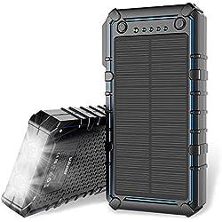 Cargador solar, 15000mAh Banco de energía solar portátil de primera calidad Cargador de batería de reserva USB doble, Cargador de batería externo solar con linterna de 2 LED para excursiones, acampar