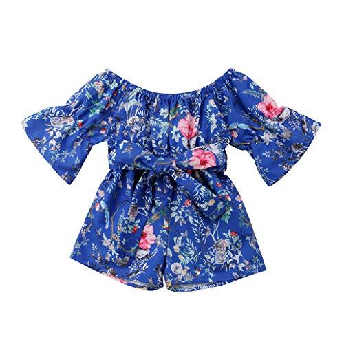 Sanahy Säuglingskleinkind-Baby-Mädchen-Overalls einteiliges langes Hülsen-Schulter-Bund-ethnischer Blumendruck-Spielanzug-Outfits