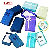 Umfrut 16pcs Paper Jewelry Gifts Boxes For Jewelry Display-Rings, Small Watches, Necklaces, Earrings, Bracelet Gift Packaging Box (Mixed Color)