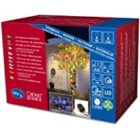 Konstsmide 3630-500 Micro LED Lichterkette / für Außen (IP44) /  24V Außentrafo / mit 8 Funktionen, Steuergerät und Memoryfunktion / 80 bunte Dioden / schwarzes Kabel