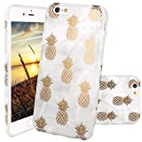 JIAXIUFEN iPhone 6 Hülle, iPhone 6S Hülle, Shiny Gold Pineapple Gray Marmor Design Soft TPU Silikon Schutz Handy Hülle Handytasche HandyHülle Case Cover Tasche Schutzhülle für iPhone 6 6s