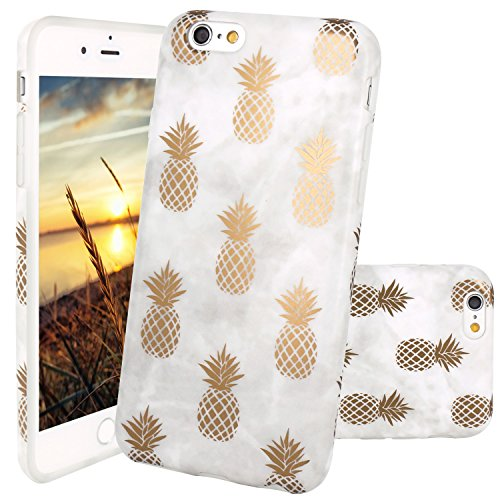 JIAXIUFEN Coque iPhone 6, Coque iPhone 6S, Silicone TPU Étui Housse Souple Antichoc Protecteur Cover Case - Shiny Gold Pineapple Gray Désign
