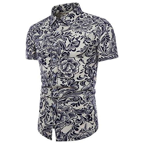 Cinnamou Camisa Hombre, Camisetas casuales de estampada flore de talla