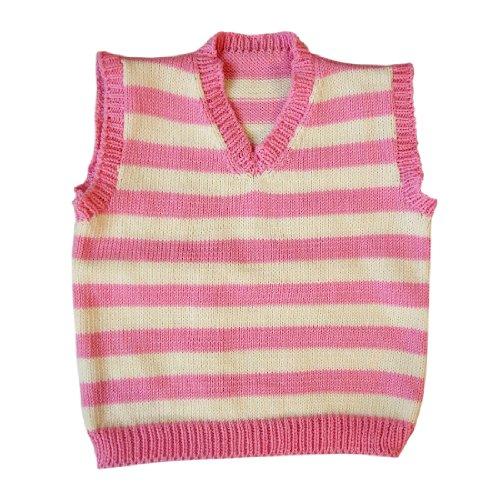 100% Merino Wolle Weste Strickjacke Ärmellos Baby Junge Mädchen Gestrickt 6-12 Monate Pink-Natural white (Sweatshirt Medium Natural)