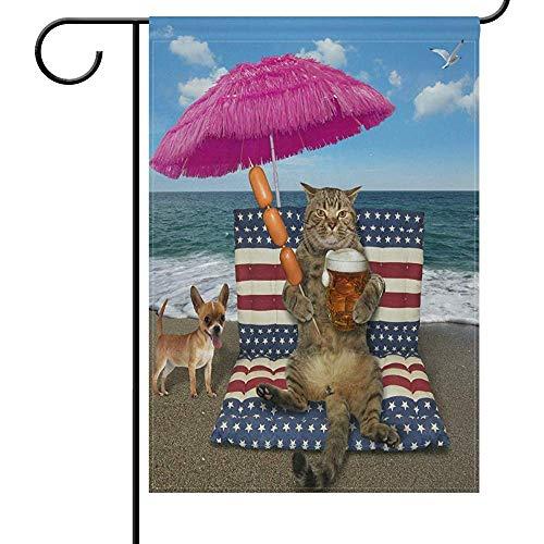 Decor Flag Sommer Katze Bier Auf Luftbett Garten Flagge Rosa Regenschirm Strand Ozean Ve Flags Für Hochzeit Outsid 32X48 Cm Druck Decoratio Außerhalb Garten Flagge Willkommen Doppelseite Banner