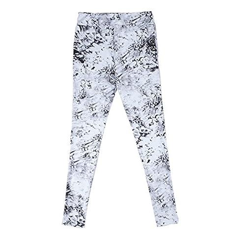 ECHERY Damen Malerei Printed Stretch Leggings Hose Net Garn Spleißen BH Anzug Training Sportbekleidung S