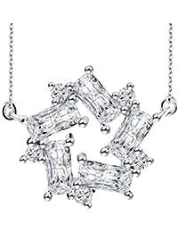 """Regalo Navidad Collar Mujer, J.Rosée Plata de Ley 925 Brillante Circonita """"Don Quijote y Molino de Viento"""" Cadena 45cm Regalo Original para Mujer"""