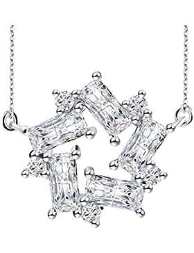 J.Rosée® Kette Damen 925 Sterling Silber Zirkonia Halskette Silber mit Herz Anhänger