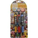 Anker - Juego de 3 bolígrafos, plástico, diseño de emoticonos, multicolor