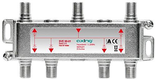 Axing SVE 60-01 6-Fach SAT-Verteiler Splitter mit DC-Durchgang für Satelliten-Anlagen Unicable DVB-T2 HD (5-2400 MHz) Class A