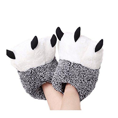 Lanfre unisex morbido peluche home pantofole pantofole con ciondolo d'orso animali costume paw claw shoes (42-43 /eur, grey)