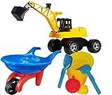 KSS Großes Strandspielzeug-Set Schubkarre großer Bagger, Eimer mit Harke, Schipper, Sieb und 2 Förmchen Sandspielzeug