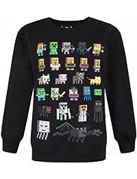 Minecraft - Felpa ufficiale con personaggi - Bambino (7-8 anni) (Nero)
