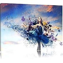 Ballerine rêveuse en robe bleue Format: toile 120x80auf, XXL énormes Photos complètement encadrés par la civière, l'impression de l'image Art mural avec cadre, moins cher que peintures à l'huile et de l'image, aucune affiche ou poster